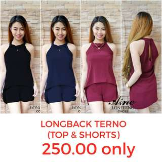 🔹️Longback top and short terno🔹️