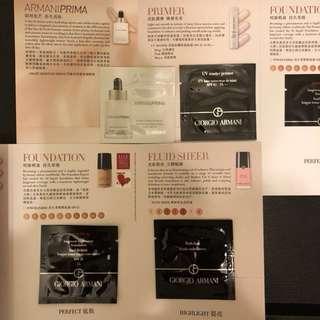 hkd24/4ml/4包 giorgio armani armaniprima / primer / power fabric foundation / fluid sheer (有多套)
