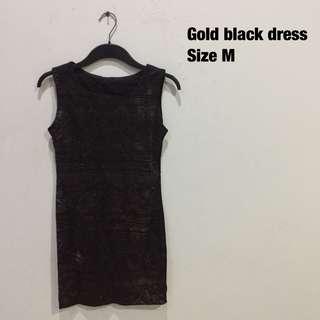Gold black dress