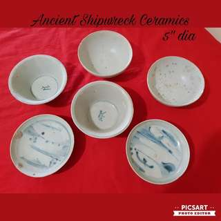 Antique Chinese Ancient Shipwreck Ceramic Bowls and plates, more than 150 years. Refer to photos (3 pcs) for detail/ dimensions. 5pcs are Good condition and 1pc has small chip. All 6pcs for $208 Clearance Offer, sms 96337309.