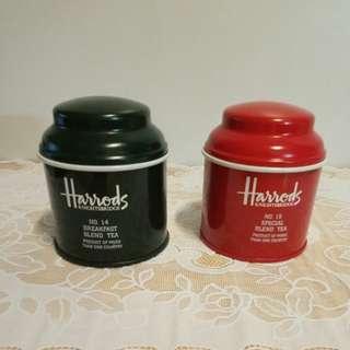 Harrods KINGHTSBRIDGE Vintage Red & Green Col Empty Tea Cans
