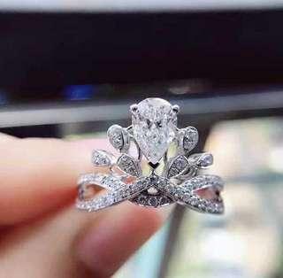 超閃十心十箭高炭鑽925純銀6層包金戒指