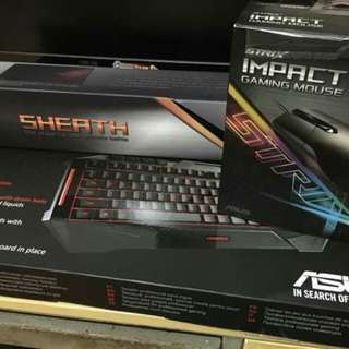Asus ROG mouse, mousepad and keyboard