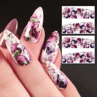 SHARE THIS ITEM:  2 Sheets Gorgeous Flower Water Decal Colorful Nail Art Manicure Transfer Sticker  # 40248