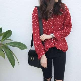(Pre-Order) Minnie Poka Shirt - Red