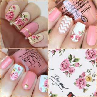 1 sheet Rose Flower Water Decal Colorful Nail Art Manicure Transfer Sticker
