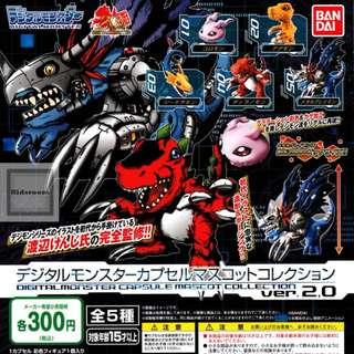 {Feb Gacha PO} Digimon Digital Monsters Capsule collection  figure ver. 2.0 nデジモン デジタルモンスター カプセルマスコットコレクション ver.2.0 5pcs set