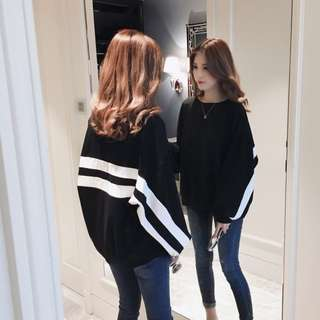 Bat Long Sleeved Black with White Stripes Sweater