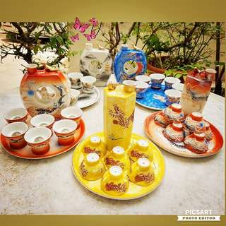 Vintage Peranakan Wedding Teaset with interesting Whistling Teapot. Comes in Vibrant colours. Each $45 or 3 sets for $120. Unused, Mint Condition. sms 96337309.