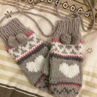 可愛毛線手套