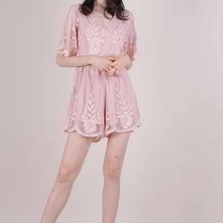 The Tinsel Rack MIKI MESH EMBROIDERY ROMPER (BLUSH PINK)