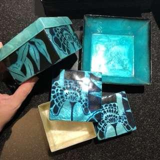 Sea shell set of 3 box & tray blue