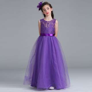 Purple Girls Princess Flower Girl Lace Long Gown Wedding Dress 4-15 Years Old