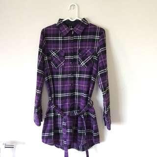 🚚 Ibex sport 紫色格子長版襯衫/洋裝