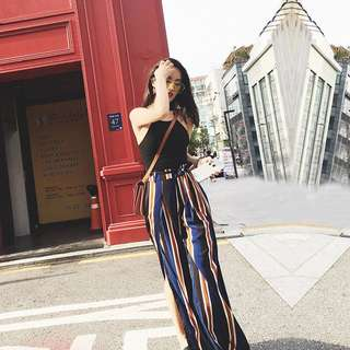 Wide Leg Striped Flare Pants with Side Slit