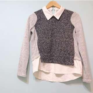 🚚 韓系簡約氣質麻質編織拼接雪紡上衣