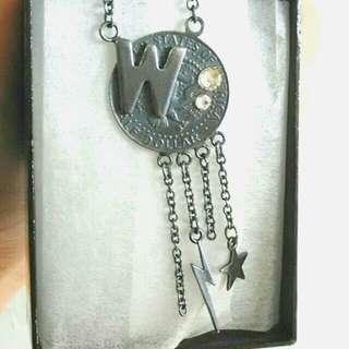 日本 World wide love Silver coins 雙面長頸鏈