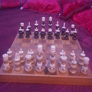 Mexican Tarascan Wood and Bone Chess set