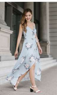 SALES: threadtheory blooming in a wrap dress in dusty blue
