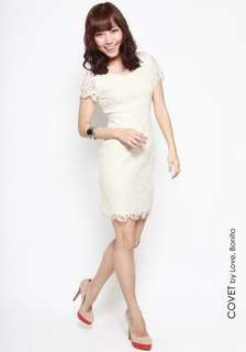 Love bonito COVET Lyon lace shift dress in white