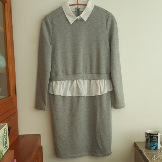 假兩件灰色洋裝