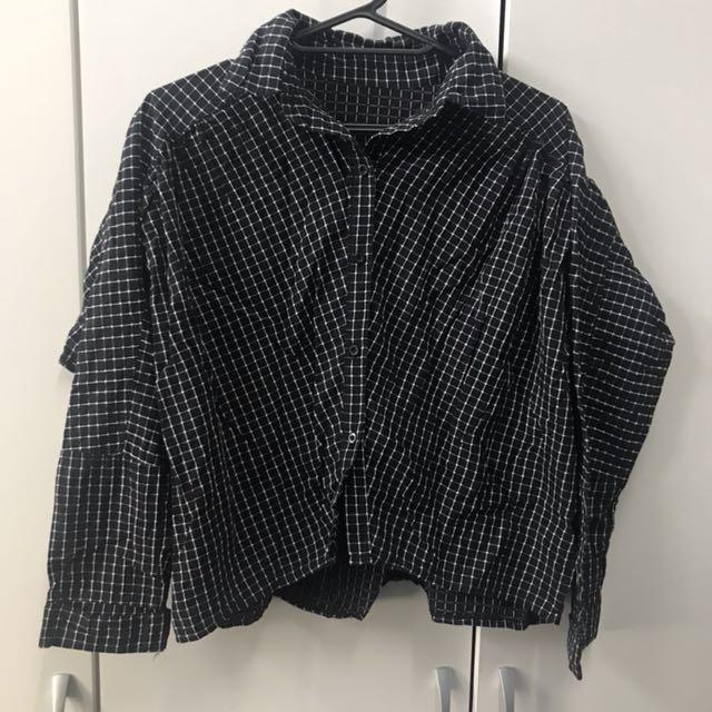 短版黑白格紋蓬蓬襯衫