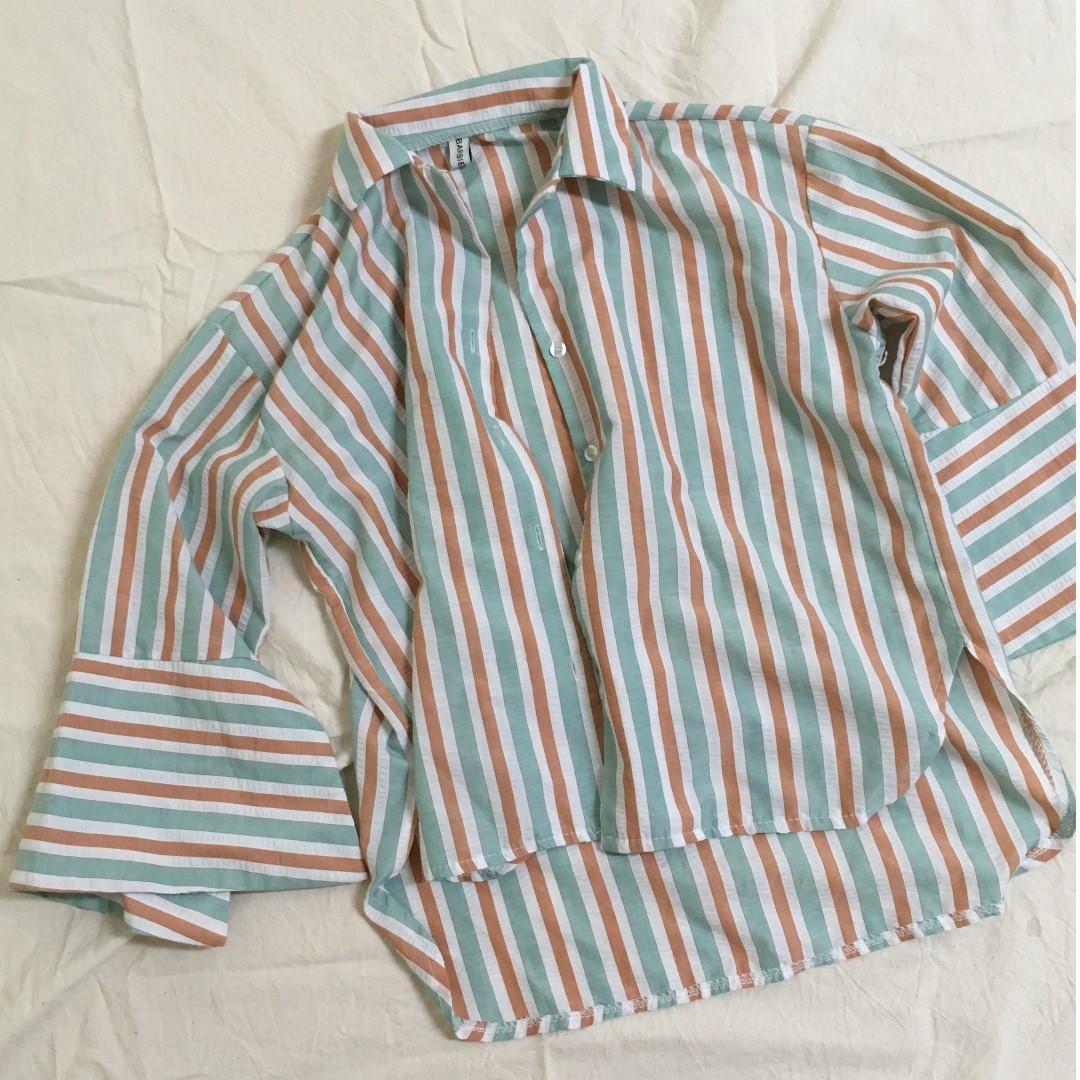 睡衣風條紋寬袖襯衫
