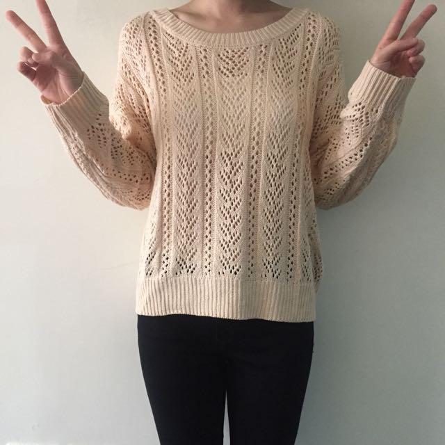 粉紅保暖針織毛衣