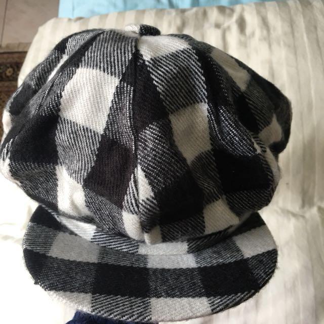 黑白格子帽 報童帽