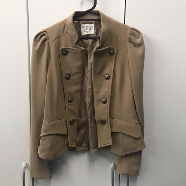 全新未穿 英倫風立挺短版西裝外套 駝色