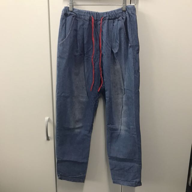 休閒可愛 牛仔丹寧 鬆緊綁帶寬版直筒褲