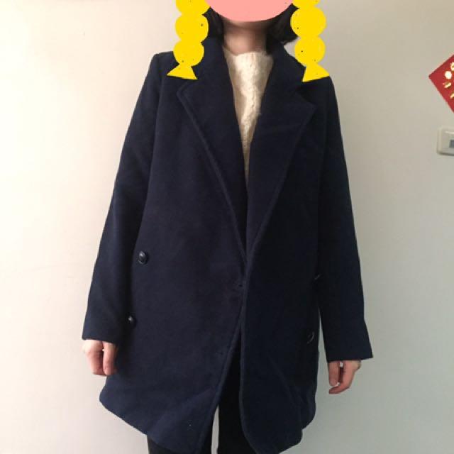 深藍 羊毛大衣 厚實保暖