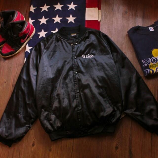 美式鋪棉黑色棒球外套古著夾克 vintage