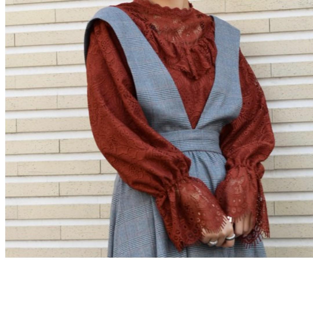 全新日貨 W closet 胸口荷葉 蕾絲 緹花透膚 喇叭袖 上衣 miia rojita zara dazzlin