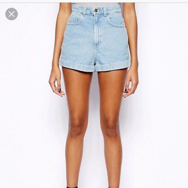 歐美AA風高腰捲邊彈性淺藍色牛仔短褲#舊愛換新歡