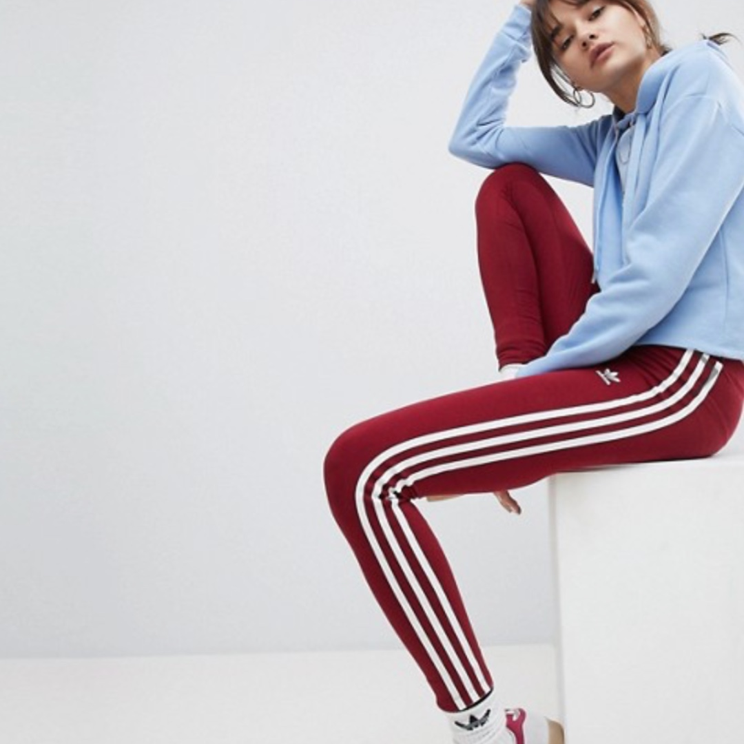 Adidas Originals adicolor Three Stripe Leggings in Burgundy