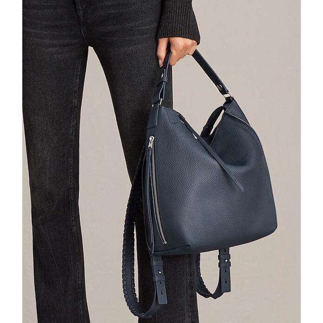 ALLSAINTS  Kita Small Backpack 全新丈青全小牛皮荔枝紋編織手拿後背包 兩用
