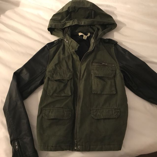 Army green jacket with leather arm