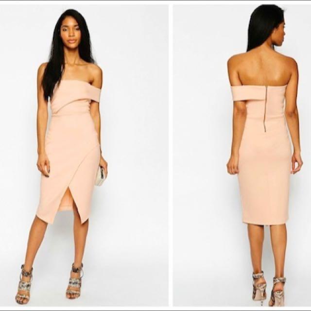 Asos Pink One Shoulder Scuba Dress Size 6 Sold Out