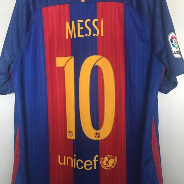 quality design 760b8 311dc Authentic Barcelona Messi Jersey L size, Sports, Sports ...
