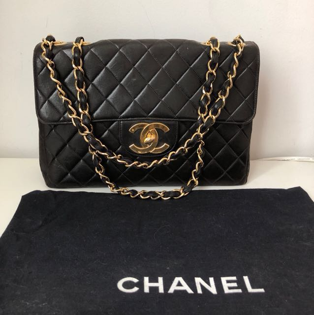 💯Authentic Chanel Vintage Lambskin Maxi Flap