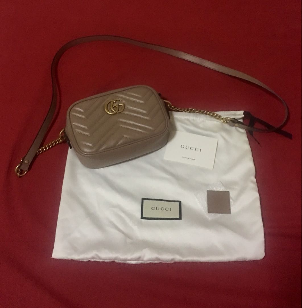 Authentic GG Marmont Mini matelassé leather crossbody bag