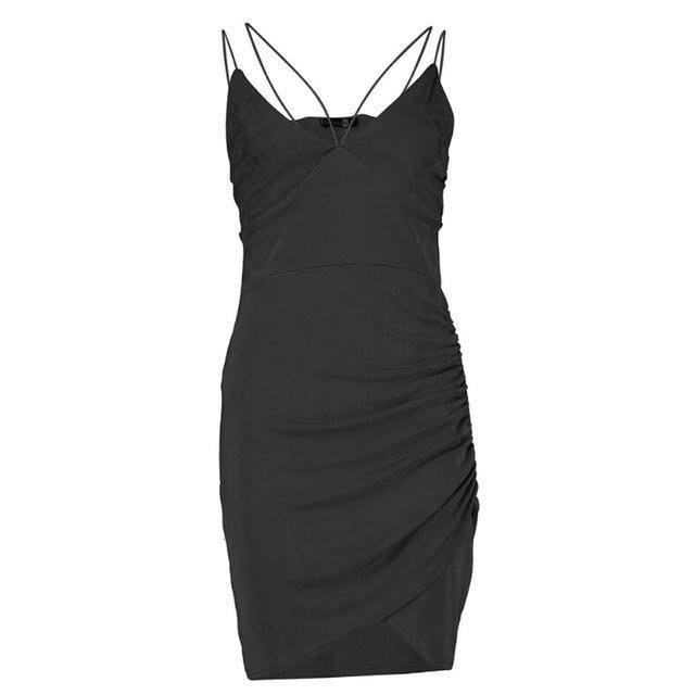Black strappy night out mini dress
