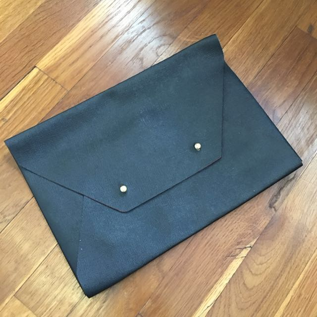 Black Synthetic Leather Pouch/Clutch