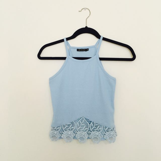 Blue Laced Cropped Top