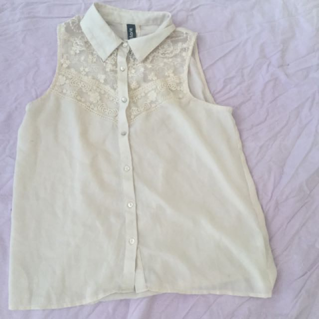 Button up pink lace top