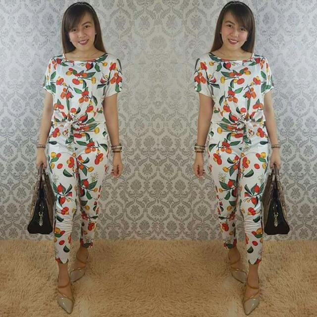 cherry top and pants terno