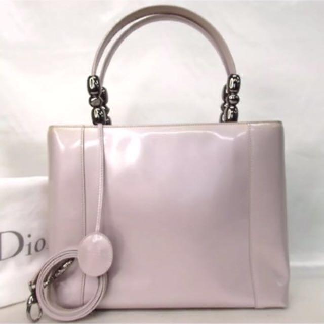 正品Christian Dior 名媛風Maris Pearl 2WAY 可斜背Tote Bag Enamel / leather