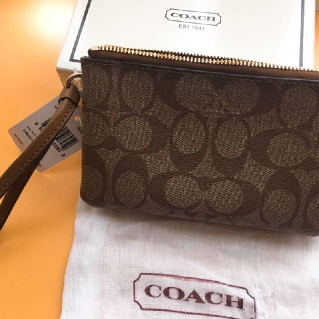 Coach F66506 咖啡色大L雙拉鍊錢包