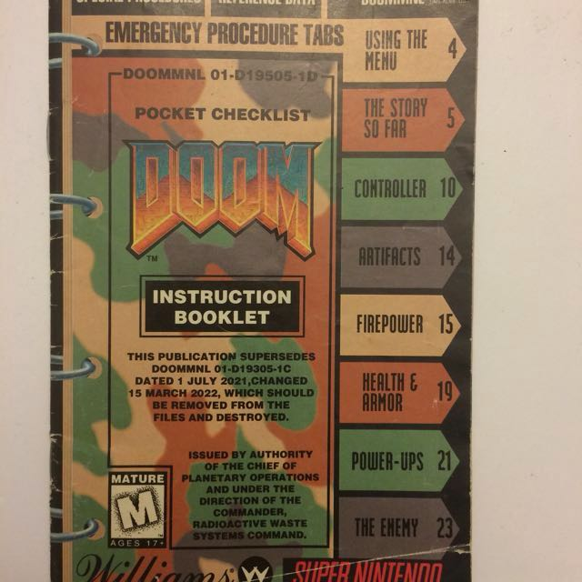 Doom SNES Instruction manual